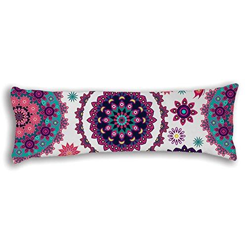 "AILOVYO Bohemian Mandala Moroccan Ethnic Style Silky Soft Satin Pregnancy Body Pillow Cover Pillowcase, 20"" x 54"""
