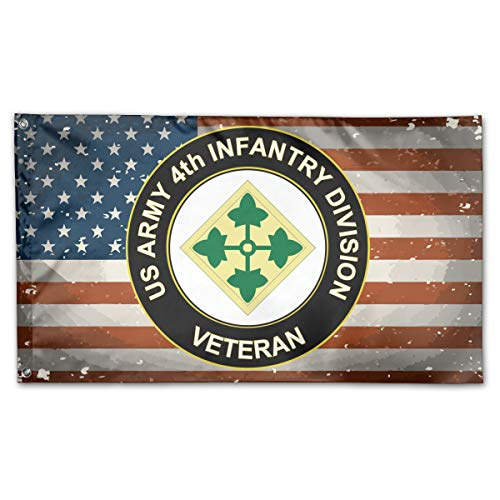 NPZBHoney3x5 US Army 4th Infantry Division Veteran Flag 3' X 5' Ft Banner Breeze Flag