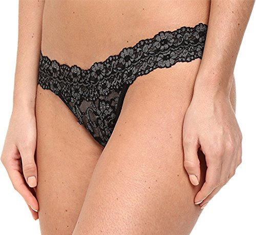 Hanky Panky Women's Signature Lace Low Rise Thong, Black/Heather, One Size