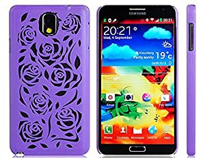 Cut-out Rose Design Plastic Case for Samsung Galaxy Note 3 N9000 N9005 (Purple)New 1PCS