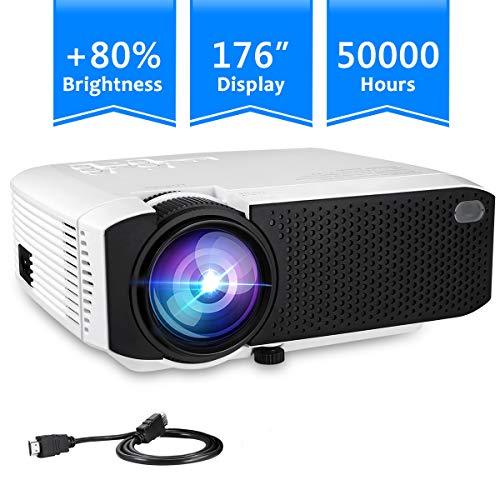 (Projector, TUREWELL Video Mini Portable Projector, 2400 Lumens 176'' Display Portable LED Projector, Multimedia Home Theater Video Projector with HDMI Cable, Support HD 1080P HDMI/VGA/AV/USB/TV Box/PS)