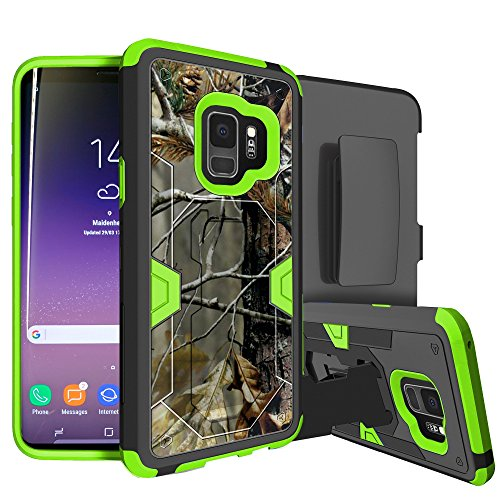 MINITURTLE Compatible with Samsung Galaxy S9 Case w/Hybrid Silicone & Hard Exterior [MAX Defense Green Series] Clip + Stand Case Fallen Branch Camo