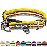 "Blueberry Pet 11 Colors 3M Reflective Multi-colored Stripe Dog Collar, Yellow Azure and Brown, Medium, Neck 14.5""-20"", Adjustable Collars for Dogs"