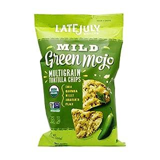 LATE JULY Snacks Multigrain MILD Green Mojo Tortilla Chips, 5.5 oz. Bag
