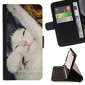 Dragon Case- Mappen-Kasten-Prima caja de la PU billetera de cuero con ranuras para tarjetas, efectivo Compartimiento desmontable y correa para la mu?eca FOR Samsung Galaxy S3 MINI I8190- Cat Cute Kitty