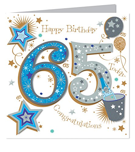 Large Luxury Handmade 65th Birthday Card