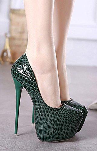 Stiletto Femme Aisun Peau Sexy de Escarpins Plateforme Vert Serpent xaxrwX