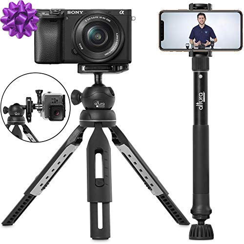 "6 in 1 Monopod Tripod Kit by Altura Photo - Universal 55"" Telescoping DSLR Camera, GoPro, Cell Phone Holder Selfie Stick with Tripod Base, 360 Ball Head and Carry Bag from Altura Photo"