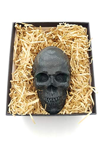party favor gag fun gift handcrafted 3d skull skeleton mold soap gift box gold handmade homemade soap creative gift bathroom toilet decoration death day personalized customized present scary large ()