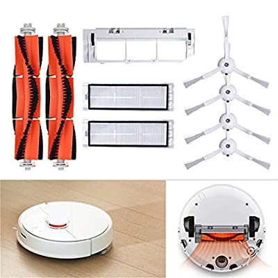 vmree Vacuum Cleaner Replacement Parts for XIAOMI Mi Mijia Robot Vacuum Accessory Kit, Include of Main Brush Hepa Filter Main Brush Cover and Side Brush