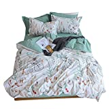 LifeTB Animals Flower Print Floral Duvet Cover Set Twin Kids Cartoon Bedding Cover Set for Boys Girls Reversible Cotton Duvet Comforter Cover Set for Teens Children Adults 3 Piece Twin Bedding Set