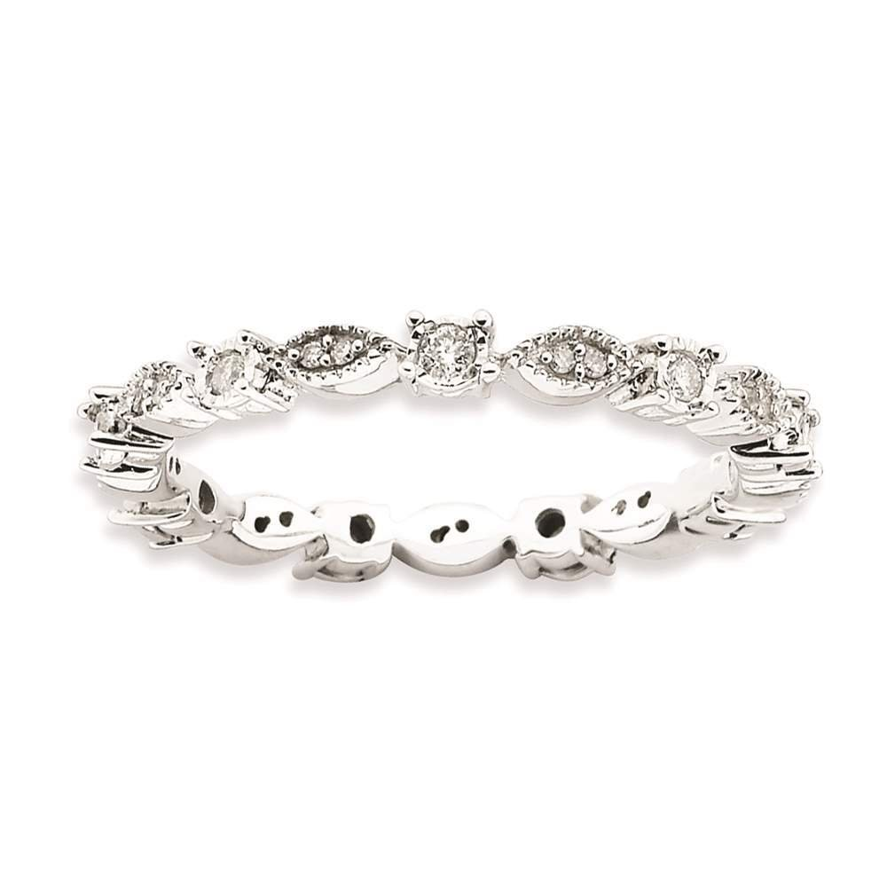 925 Sterling Silver Rhodium-plated Polished Eternity Diamond Ring by Stackable Expressions Size 8