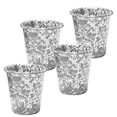 Enamelware Tumbler, 10 ounce, Grey/White Splatter (4)