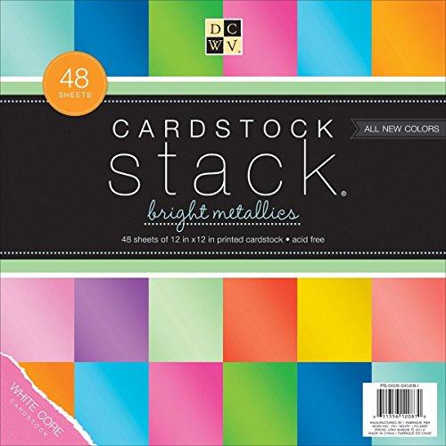 Border Die Cut Embellishment Scrapbook (DCWV Cardstock Stack, Bright Metallics, 48 Sheets, 12 x 12 inches)
