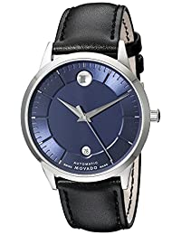 Movado Men's 39.5mm Black Leather Band Steel Case S. Sapphire Automatic Blue Dial Analog Watch 606874