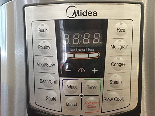 MIDEA 6 Qt 6 in 1 Programmable Electric Pressure Cooker, Meat/Stew, Poultry, Steam, Slow Cook, Rice, Beans/Chili, Congee, Soup, Multi Grain, Sauté by MIDEA (Image #1)'