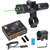 Vokul Shockproof 532nm Tactical Green Dot Laser Sight Rifle Gun Scope w/ Rail & Barrel Mount Cap Pressure Switch