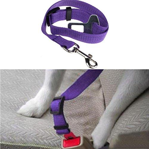 Outtop Dog Dog Vehicle Restraint Adjustable Pet Dog Cat Car Seat Belt Safety Leads Vehicle Seatbelt Harness (Purple) Review