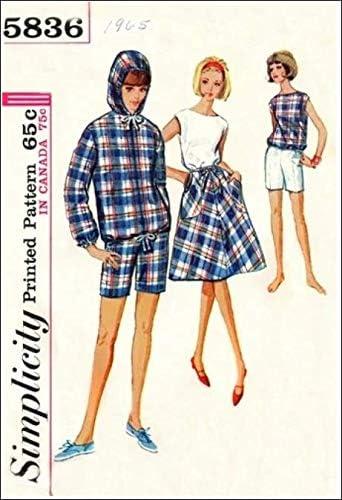 Simplicity 5836 Falda envolvente para mujer, chaqueta con capucha ...