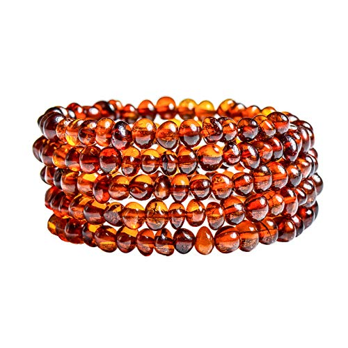 Genuine Baltic Amber Bracelet for Women - Made on Memory Wire - Handmade Natural Amber Beads Jewelry for Adult (Cognac)