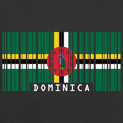 Dominica Barcode Flagge - Herren T-Shirt - Schwarz - XS