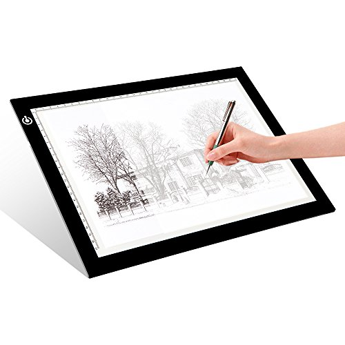 LITENERGY Portable A4 Tracing LED Copy Board Light Box, Ultra-Thin Adjustable USB Power Artcraft LED Trace Light Pad for Tattoo Drawing, Streaming, Sketching, Animation, Stenciling (Best Lightbox For Calligraphy)