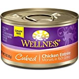 Wellness Grain Free Cubed Chicken Natural Wet Canned Cat Food, 3-Ounce Can (Pack of 24)
