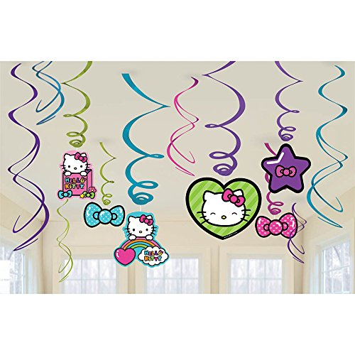Hello Kitty Rainbow Hanging Foil Swirl Decorations (Each) - Party Supplies ()