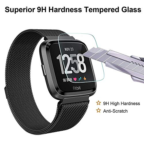 3-Pack-Fitbit-Versa-Screen-Protector-Waterproof-9H-Tempered-Glass-Screen-Protector-for-Fitbit-Versa-Smart-Watch-25D-Round-Edge-9H-Hardness-Crystal-Clear-Anti-Scratch-No-Bubble