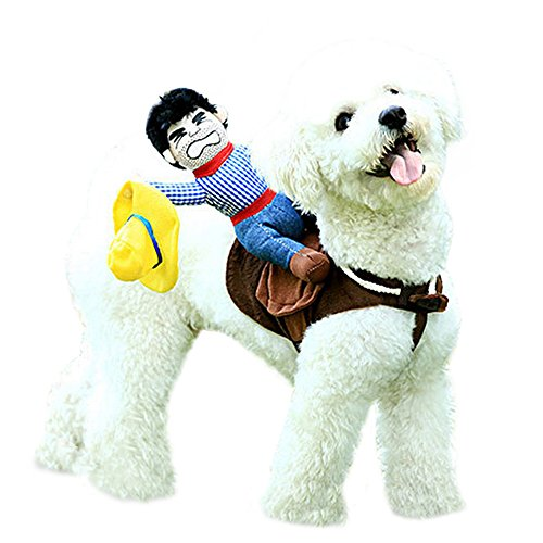 [Pethome Puppy Dog Shirt Rider Cowboy Horse Riding Pet Costume Outfit Apparel] (Dog Cowboy Costume)