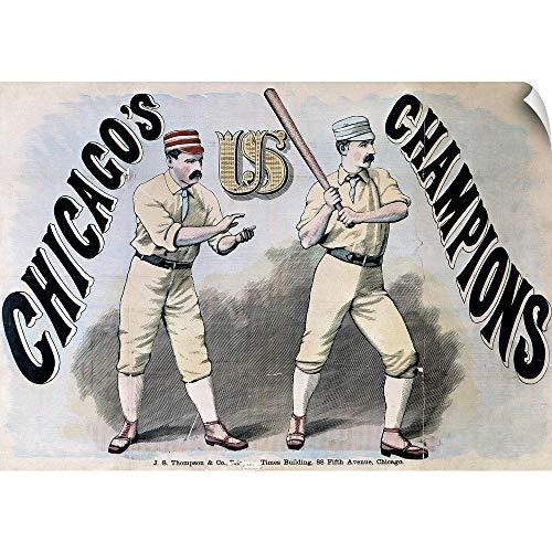 "CANVAS ON DEMAND Two Baseball Players of The Chicago White Stockings Baseball Team, 1876"" Wall Peel Art Print, 30."