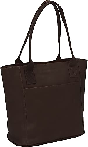 Piel Leather Small Tote Bag, Chocolate, One Size