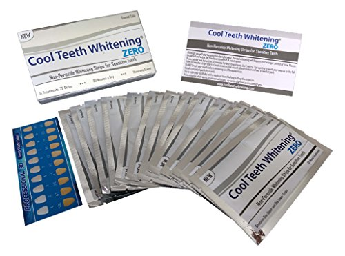 Cool Teeth Whitening Zero Peroxide Strips for Sensitive Teeth and Gums Whitener Band Kit 28 Pcs 14 Treatments 2 Week Supply Color Chart Gentle No Hp Bleach Free Instant White Tooth Non Slip Formula (Whitening Chart)