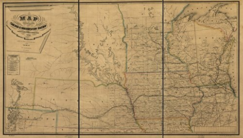 Map: 1869 showing the location of the Chicago & Northwestern Railway with its branches & connections through Illinois, Iowa, Nebraska, Wisconsin, Minnesota, Michigan. of the midwestern states - Map Michigan Chicago