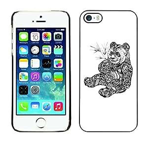 SoulCase / Apple Iphone 5 / 5S / Cute Tribal Tattoo Panda Illustration / Delgado Negro Plástico caso cubierta Shell Armor Funda Case Cover