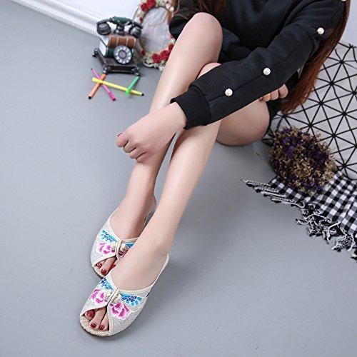 WXT Zapatos bordados, lenguado de tendón, estilo étnico, flip flop femenino, moda, cómodo, sandalias meters white
