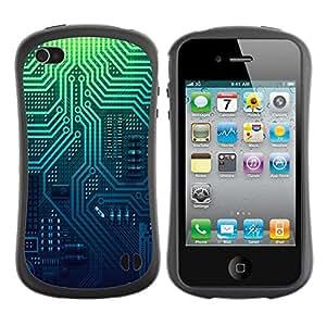 Paccase / Suave TPU GEL Caso Carcasa de Protección Funda para - Pcb Electronics Circuit Layout Pattern - Apple Iphone 4 / 4S