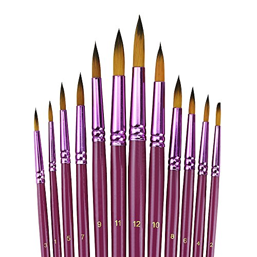 YOUSHARES 12pcs Art Paint Brush Set for Watercolor, Oil, Acr