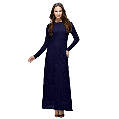 aa68d904f63 Tootu Women Dress Slimming Long Dress Lady Lace Double Layer Long Muslim  Dark Blue