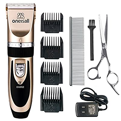 Pet Grooming Clipper Kits Low noise Oneisall Dog and Cat Rechargeable Cordless Electric Queit Clippers Set