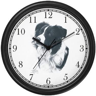 WatchBuddy Border Collie Dog MS Wall Clock Timepieces White Frame