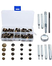 40 Sets Snap Fasteners Kit, Metal Snap Buttons Press Studs with 5 Pieces Fixing Tools, Bronze Clothing Snaps Kit for Leather, Coat, Down Jacket, Jeans Wear and Bags
