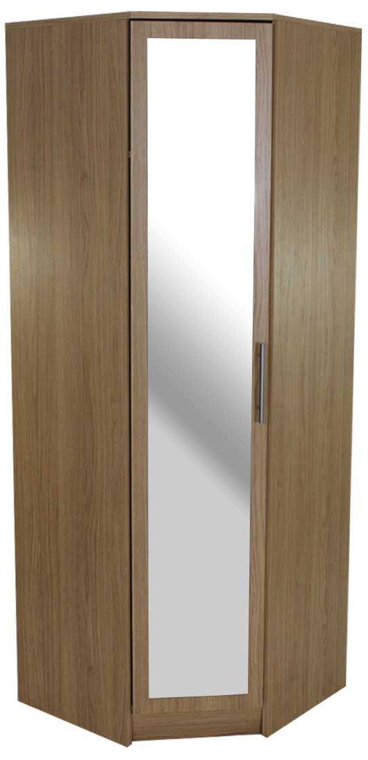 devoted2home wardrobe white 1 door corner mirror with metal T-Bar handle, wood, bedroom furniture set wardrobe storage organiser, 64.7x64.7x180.0cm. Large 3/4 length hanging rail space with top shelf