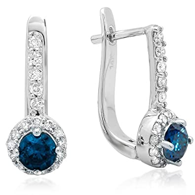 1.00 Carat (ctw) 14K White Gold Round Blue & White Diamond Ladies Fine Halo Hoop Earrings 1 CT