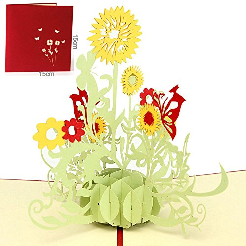 Price comparison product image Paper Spiritz Sunflower Pop up Birthday Cards - 3d Pop up Valentine Thank you Love Anniversary Wedding Holiday Cards - 3D Happy New Year Congratulations Greeting Cards all Occasion