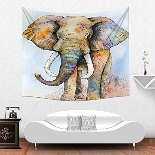 Colorful Animal India Mandala Elephant Tapestry Home Decorative Wall Hangings Blanket by PEIYUAN