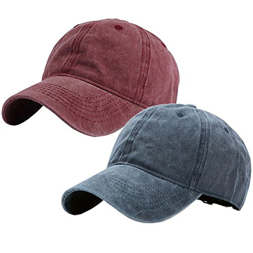 (Vintage Washed Dyed Cotton Twill Low Profile Adjustable Baseball Cap (A-Wine Red+Navy Blue))