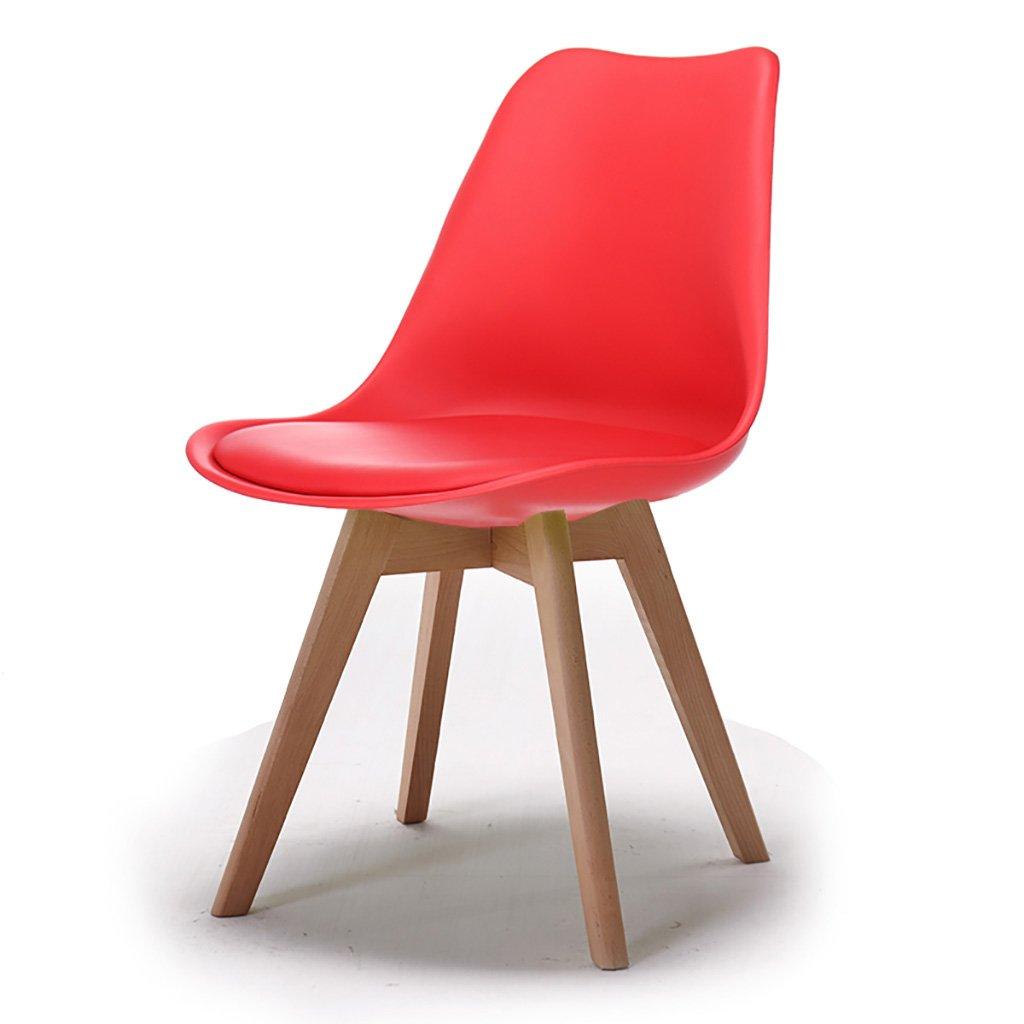QRFDIAN Freizeitstuhl kreativer Esszimmerstuhl Moderner minimalistischer Massivholzstuhl Kunststoff-Coffee-Shop-Stuhl Eukalyptusbein Ledersitzstuhl