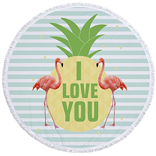PYHQ Flamingo Art Circle Beach Towel Cover Cotton Tassel Wal