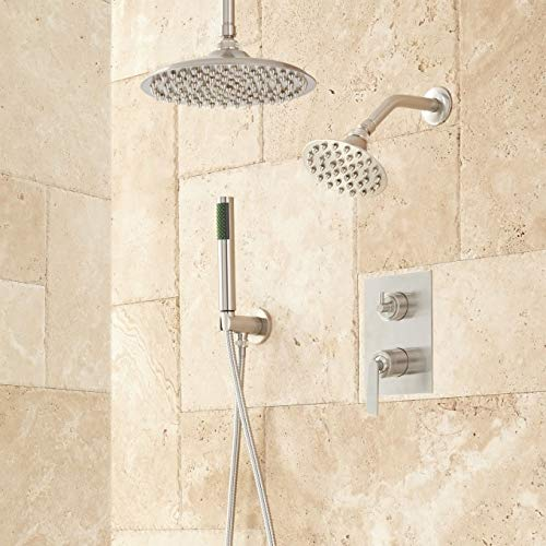 """414916 Trimble Dual Shower Head Shower System with 12"""" Rainfall Shower Head, Wall Mounted Shower Head, and Hand Shower - Rough In Included"""